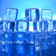 Blue and shiny ice cubes — Foto de Stock