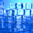 Blue and shiny ice cubes — Stock fotografie