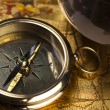 Old map with compass - Stock Photo