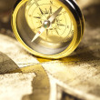 Old map with compass — Stockfoto
