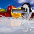 Food and measurement, fitness — Stock Photo #9916992