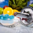 Stock Photo: Fitness Food and blue sky