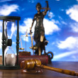 Justice concept in blue sky background — Stock Photo #9919331