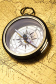 Close up view of the compass on old map — Stock Photo