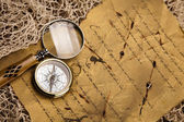Old map with compass — Stock Photo