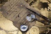 Compass on the old map background — Stock Photo
