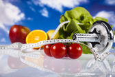 Food and measurement, fitness — Stock Photo