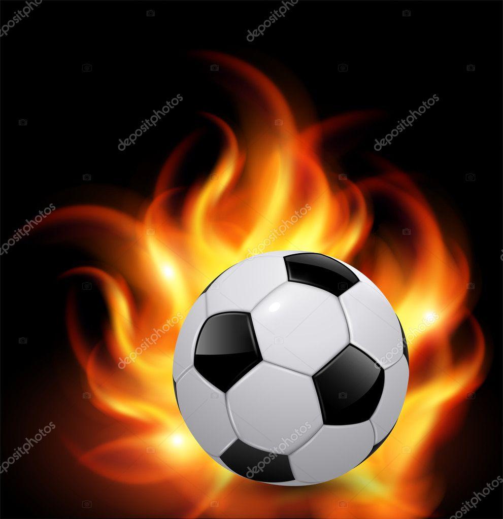 Soccer ball on fire — Stock Vector © cobalt88 #10236500