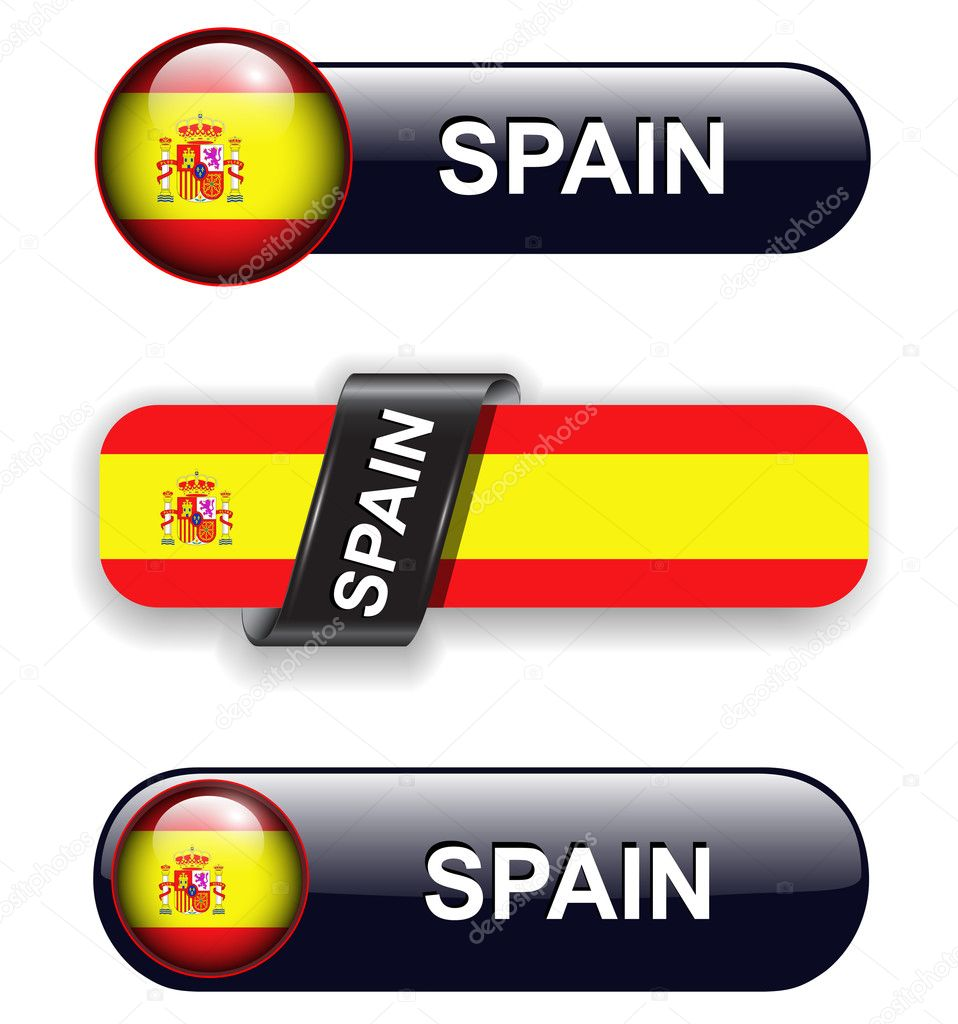 Spain flag banners, icons theme. — Stock Vector #9644846