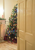 Through the door into christmas — Stock Photo