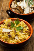 Risotto with saffron and mushrooms — Stock Photo