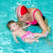 Family with baby in the swimming pool — Stock Photo #10286887