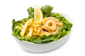 Calamari fried with potate — Stock Photo