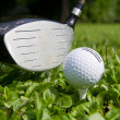 Golf ball on tee - Stock Photo
