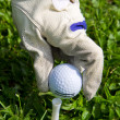 Placing golf ball on a tee — Stock Photo
