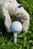 Placing golf ball on a tee — Stock Photo