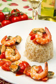 Risotto with shrimps and mussels — Stock Photo