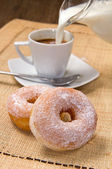Donuts with coffee — Stock Photo