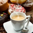 Doughnut with an espresso - Stock fotografie