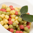 Tricolour gnocchi with sage — Stock Photo