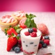 Royalty-Free Stock Photo: Yogurt with berries and cupcake
