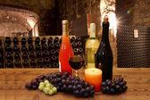 Glasses of wine in the cellar — Stock Photo