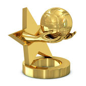 Golden trophy with star, hands and volley ball — Stock Photo