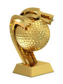 Golden trophy with stars and golf ball — Stock Photo