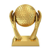 Golden award trophy with hands and golf ball — Stock Photo