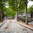 Stock Photo: cobbled alley at pere lachaise cemetery