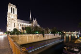 Notre Dame Cathedral at night. Paris, France — Stock Photo