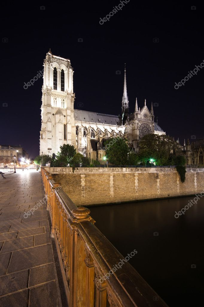 A wide-angle view of Notre Dame Cathedral at night — Stock Photo #9266171