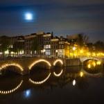 Amsterdam canal on night panorama — Stock Photo