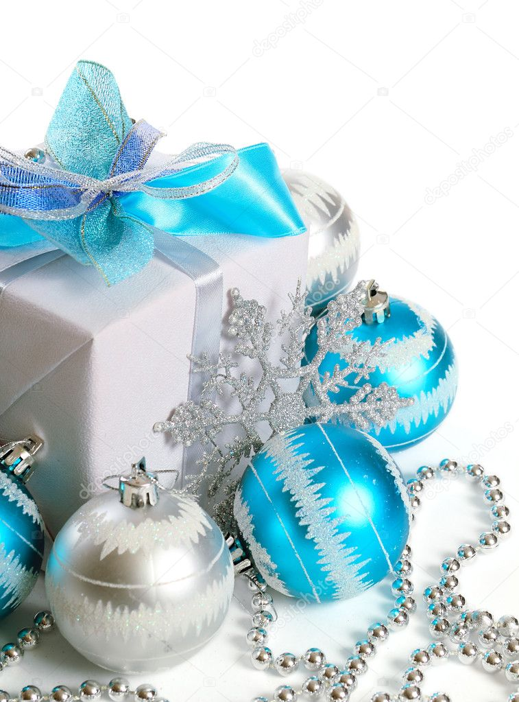 Gift box with Christmas decorations on white background — Stock Photo #7980042