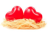 Hearts in nest — Stock Photo