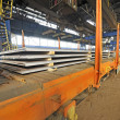 Steel sheet cargo on railway - Stock Photo