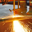 Foto Stock: Gas cutting of the hot metal