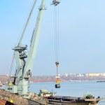 Rolls of steel sheet in harbor — Stock Photo