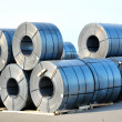 Rolls of steel sheet in harbor — Stock Photo