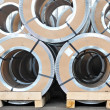 Stock Photo: Packed rolls of steel sheet