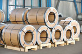 Packed rolls of steel sheet — Stock Photo