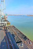 Coal in harbor on danube river — Foto Stock