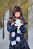 Young Beautiful Woman in winter time — Stock Photo