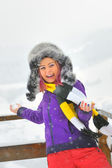 Young Beautiful Woman play in winter time — Stock Photo
