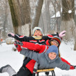 Kids sliding — Stock Photo