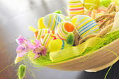 Basket with easter eggs — Stockfoto