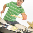 Active drummer — Stock Photo