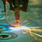 Laser cutting metal sheet — Stock Photo