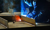 Welding with mig-mag method — Foto Stock
