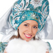 Smiling snow maiden isolated on a white — Stock Photo